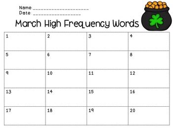 Sight Words - Word Work for the Year