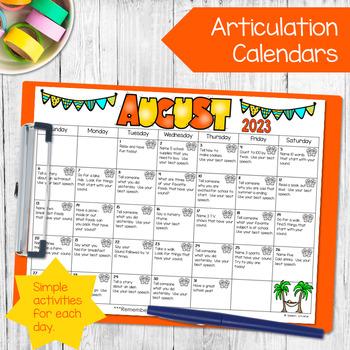 Speech and Language Homework Calendars {BUNDLE}