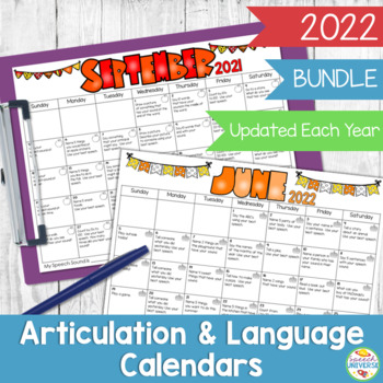 Speech And Language Homework Calendars Bundle By Speech Universe