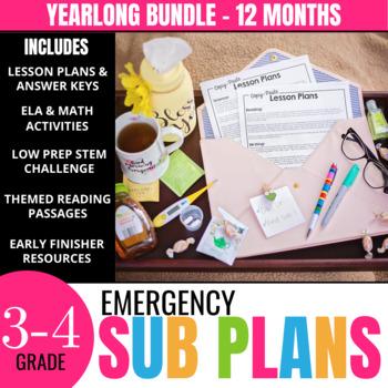 Sub Plans for Third & Fourth Grade - Yearlong Bundle + 2 B