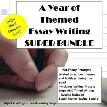A Year of Themed Essay Writing, Super Bundle w Rubrics & Printables