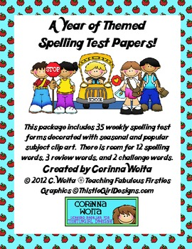 A  Year of Themed Spelling Test Papers