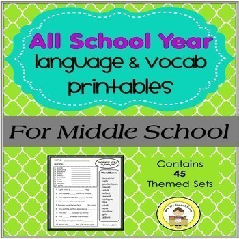 An Entire School Year of Themed Vocab & Grammar for Middle School Speech