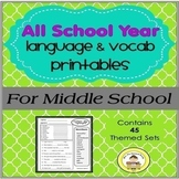 A Year of Themed Vocab & Grammar Printables for Middle School Speech Therapy