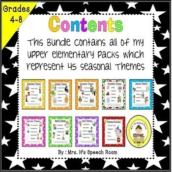 A Year of Upper Elementary Theme Based Vocabulary & Language Bundle