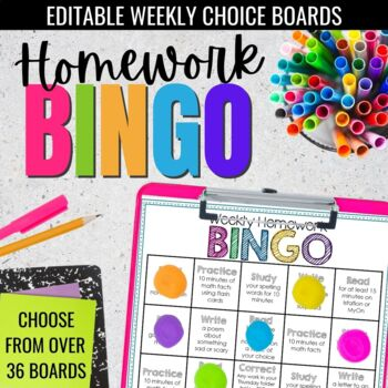 Editable Weekly Homework BINGO Choice Boards- Differentiated Homework Simplified