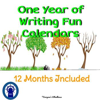 A Year of Writing Fun--Bundle of Calendars of Writing Prompts