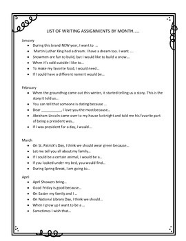 A Year of Writing! Writing Prompts for EVERY month.  76 worksheets!!