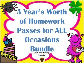 A Year's Worth of Homework Passes for ALL Occasions