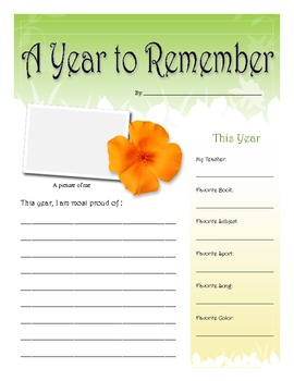 A Year to Remember: End of Year Scrapbook