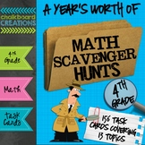A Year's Worth of Math Scavenger Hunts: Common Core Aligned for 4th Grade