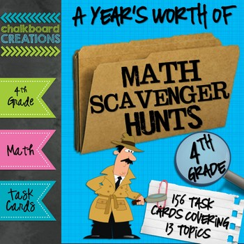 A Year S Worth Of Math Scavenger Hunts Common Core Aligned For 4th Grade