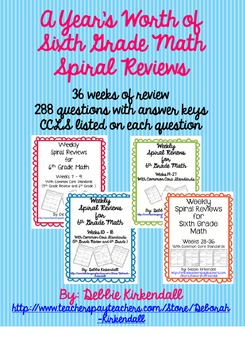 A Year's Worth of Sixth Grade Math Spiral Review (36 weeks)