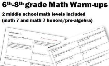 A Years Worth of Warm-ups! (7th grade through pre-algebra)