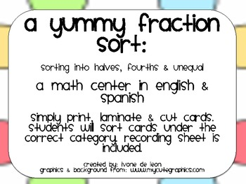 A Yummy Fraction Sort (sorting shapes into halves, fourths, and unequal)