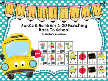 A-Z & 1-20 Matching Back To School