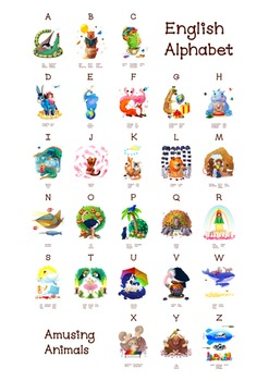 ❤ A-Z ABC amusing animals. English animals alphabet. New Classroom poster
