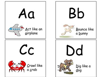 A-Z Alphabet Activity Flash Cards! Early literacy, letters, movement! P.E.