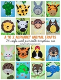 A-Z Alphabet Animal Craft eBook + 30 Printable Templates Included