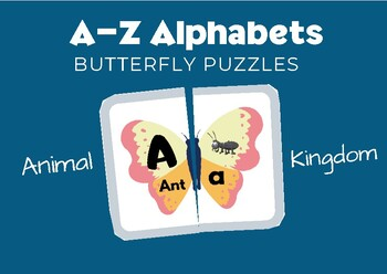 A- Z Alphabet Butterfly Puzzles - Animal Names - No Prep Literacy Center