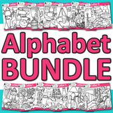 A - Z Alphabet Clip Art Bundle | Great for Letter Recognition and Phonics | B&W