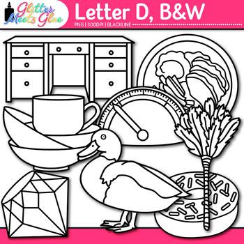 A - Z Alphabet Clip Art Bundle   Great for Letter Recognition and Phonics   B&W