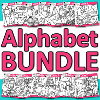 A - Z Alphabet Clip Art Bundle Line Art - Letter Recogniti