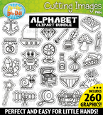 A-Z Alphabet Letters Cutting Images Clipart Bundle {Zip-A-Dee-Doo-Dah Designs}