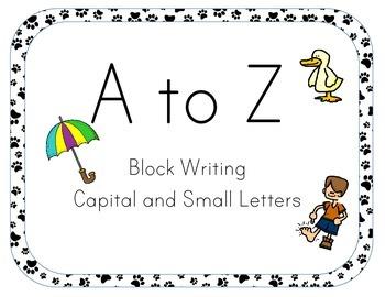 A-Z Alphabet Line Posters 5x7 Block Letter Dog Theme