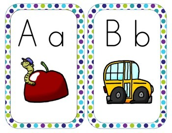 A-Z Alphabet Line Posters 5x7 Block Letter Peacock Theme Purple Green Teal