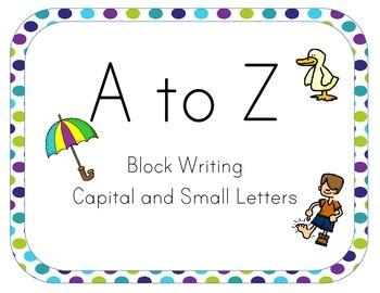 A-Z Alphabet Line Posters 5x7 Block Letter Peacock Theme P