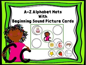 A-Z Alphabet Mats & Beginning Sound Picture Cards (COLOR)