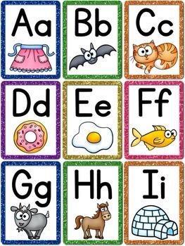 Alphabet Poster Set - Glittery Style