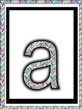 Alphabet Posters (Herringbone Chevron Design) Upper and Lower Case