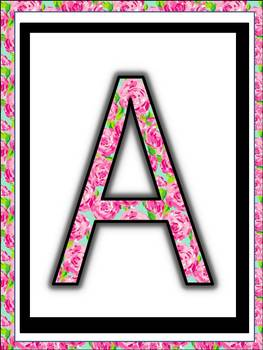 Alphabet Posters for classroom (Lilly Rose in Lilly Pulitzer Design)