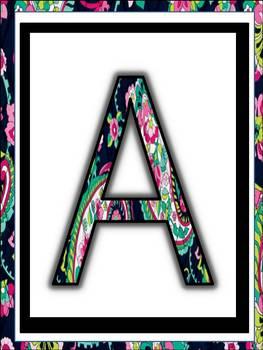 Alphabet Posters for classroom in Vera Bradley Design classroom decor
