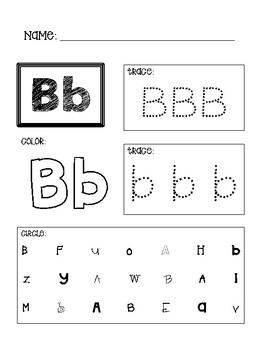 a z alphabet worksheets tracing identifying coloring tpt. Black Bedroom Furniture Sets. Home Design Ideas