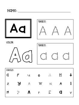 Pre-K/Kindergarten A-Z Alphabet Worksheets (Tracing ...
