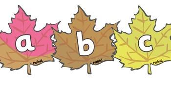 A-Z Alphabet on Autumn Leaves