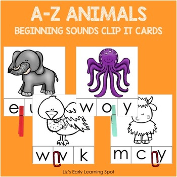 A-Z Animals: Beginning Sounds Clip It Cards