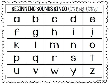 Beginning Sounds BINGO Cards