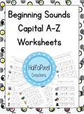 A-Z Beginning Uppercase Letter Sound Worksheets Letter Recognition