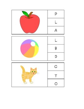 A-Z Beginning Letter Sounds Clip Cards with clipart