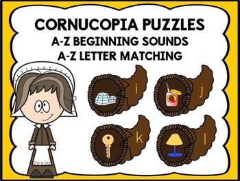 A-Z Beginning Sound & Letter Matching Puzzles -Cornucopia