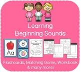 A-Z Beginning Sounds Bundle (Flashcards, Matching Game, Bingo, Workbook)