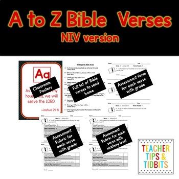 A-Z Bible Verses New International Version Black and White Polka Dot