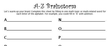 A-Z Brainstorm Activity