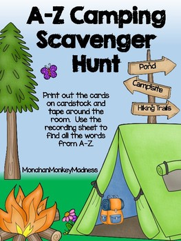A Z Camping Scavenger Hunt By Monahan Monkey Madness Tpt