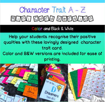 A-Z Character traits mini cards