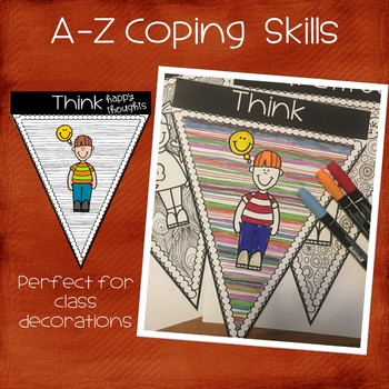 A-Z  Coping Skills Stress Reduction Classroom Pennants